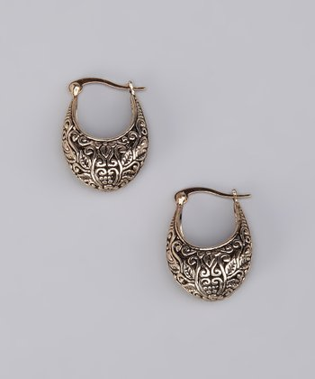 Gold Filigree Crescent Earrings