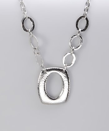 Silver Hammered Ring Pendant Necklace