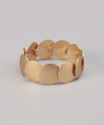 Gold Matte Hammered Disk Stretch Bracelet