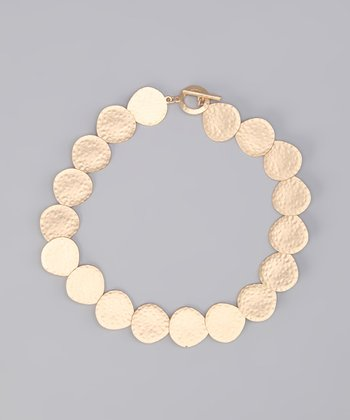 Gold Matte Hammered Disk Necklace