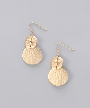 Gold Matte Hammered Disk Earrings