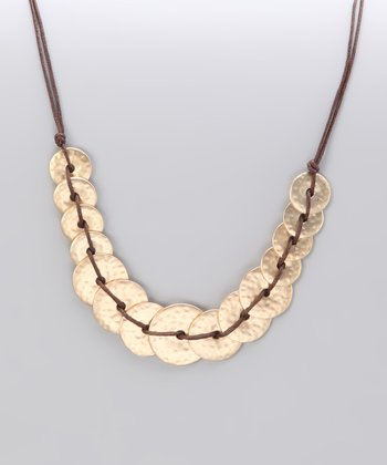 Gold Matte Hammered Knotted Disk Necklace