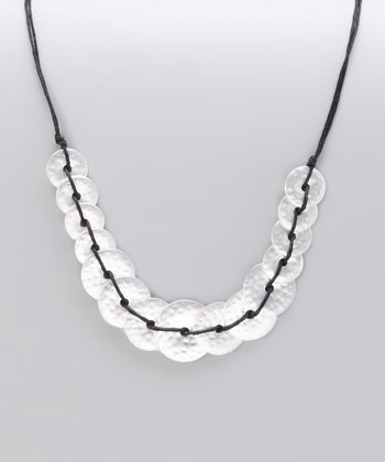 Silver Matte Hammered Knotted Disk Necklace
