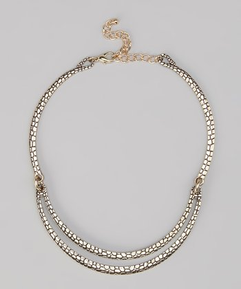 Gold Textured Double Row Collar Necklace