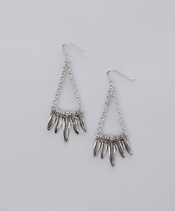 Silver Chain Leaf Earrings