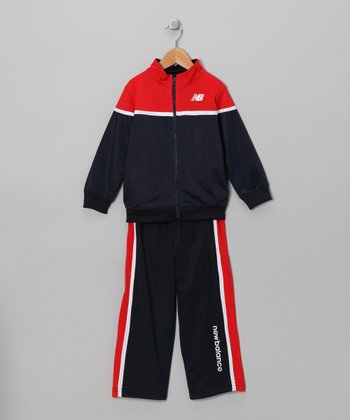 Navy & Red Track Jacket & Pants - Toddler