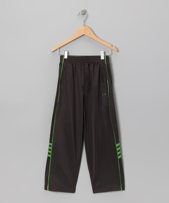 Charcoal & Lime Piping Track Pants - Boys