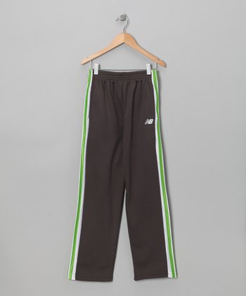 Charcoal & Green Track Pants - Boys