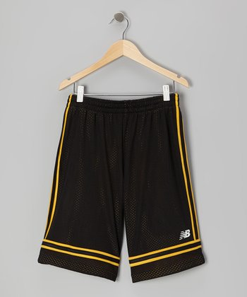 Black & Gold Stripe Shorts - Boys