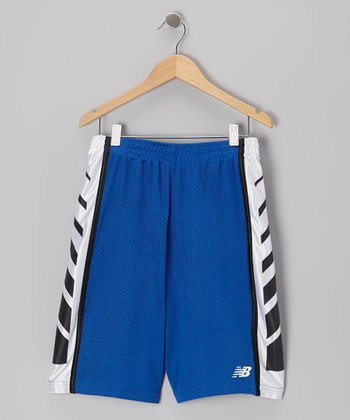 Ocean & Black Side Stripe Shorts - Boys