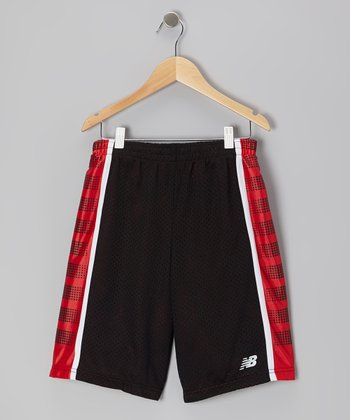 Black & Red Dot Stripe Shorts - Boys
