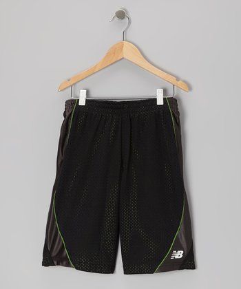 Black & Lime Mesh Shorts - Boys