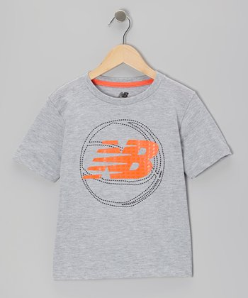 Light Gray 'NB' Logo Basketball Tee - Boys