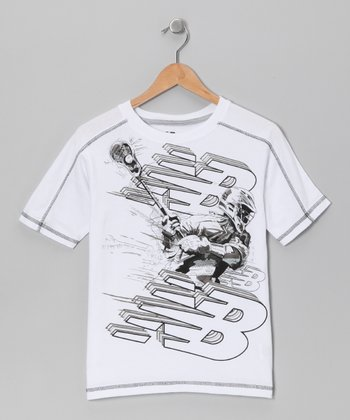 White Hockey Illustration Tee - Boys