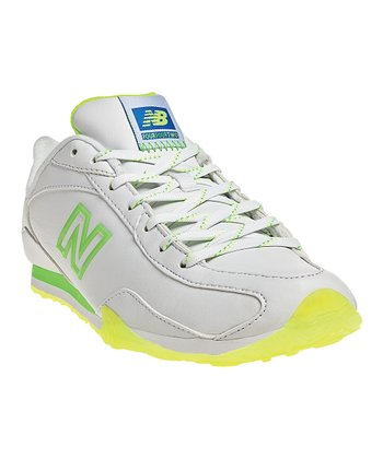 White & Neon Green 442 Sneaker - Women