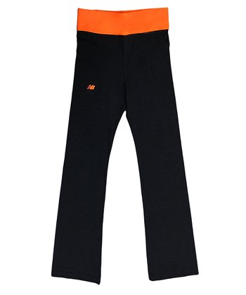 Shocking Orange & Black Fold-Over Yoga Pants