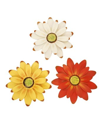 White, Orange & Yellow Flower Small Wall Art Set
