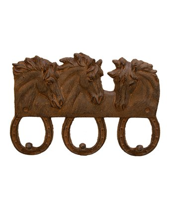 Rust Three Horse Wall Hook