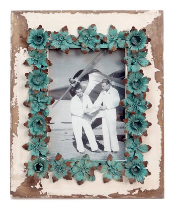 White & Blue Flower Frame
