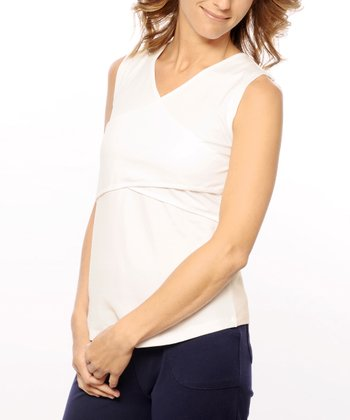 Off-White Organic Maternity & Nursing Crisscross Tank
