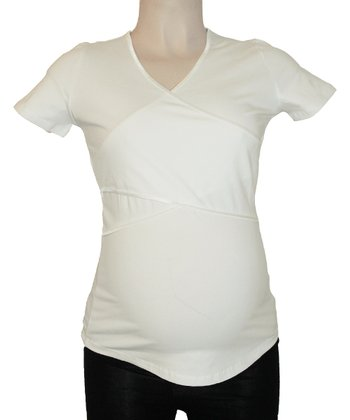 Off-White Maternity & Nursing Short-Sleeve Top - Women
