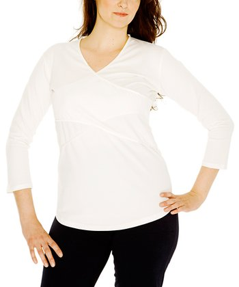 Off-White Maternity & Nursing Three-Quarter Sleeve Top - Women