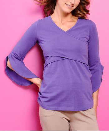 Grape Split-Sleeve Organic Maternity & Nursing Top