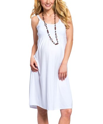 White Maternity & Nursing Empire-Waist Dress