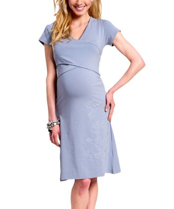 Silver Embroidered Organic Maternity & Nursing Dress