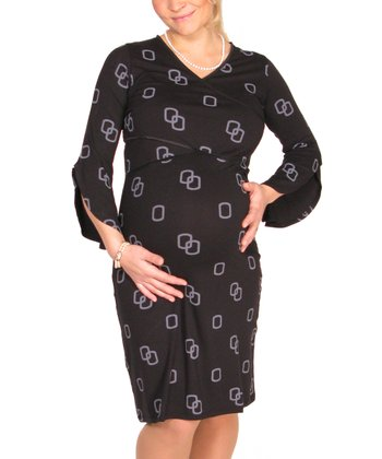 Black Chain Split-Sleeve Maternity & Nursing Dress