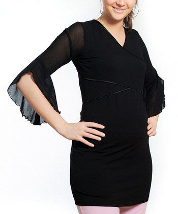 Black Split-Sleeve Maternity & Nursing Tunic - Women