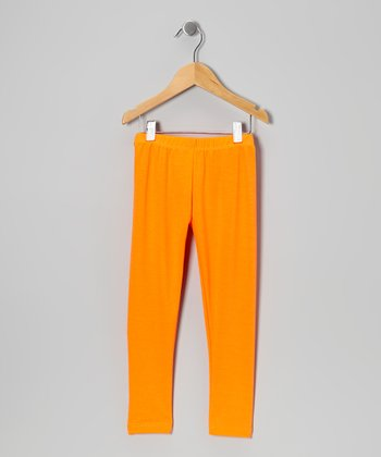 Neon Orange Leggings - Toddler & Girls