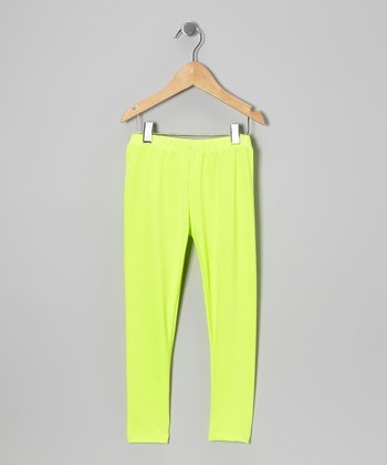 Neon Yellow Leggings - Toddler & Girls