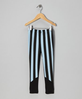 Light Blue Stripe Leggings - Girls