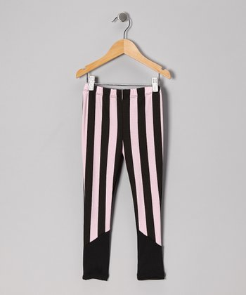 Light Pink Stripe Leggings - Girls
