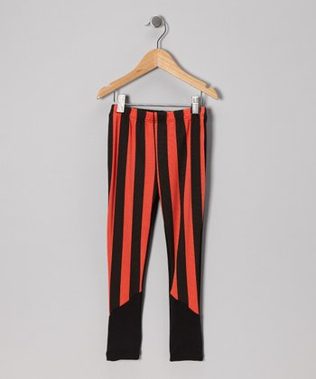 Orange Stripe Leggings - Girls
