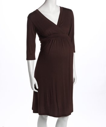 Brown V-Neck Maternity & Nursing Dress