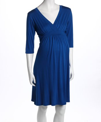 Royal Blue V-Neck Maternity & Nursing Dress