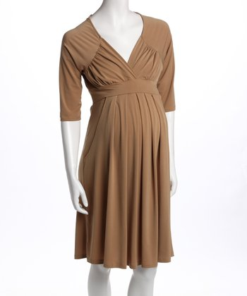 Beige Three-Quarter Sleeve Pocket Maternity Dress