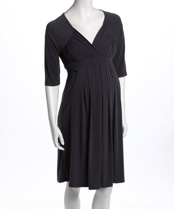 Charcoal Three-Quarter Sleeve Pocket Maternity Dress