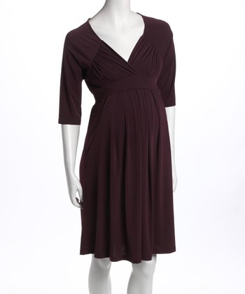 Eggplant Three-Quarter Sleeve Pocket Maternity Dress