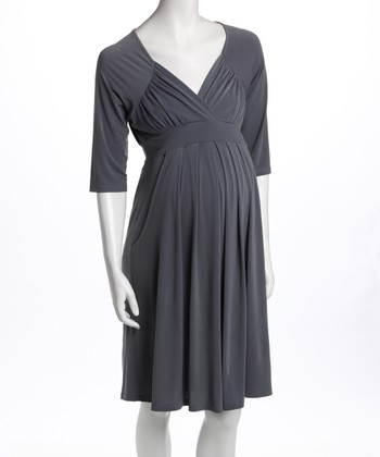 Gray Three-Quarter Sleeve Pocket Maternity Dress