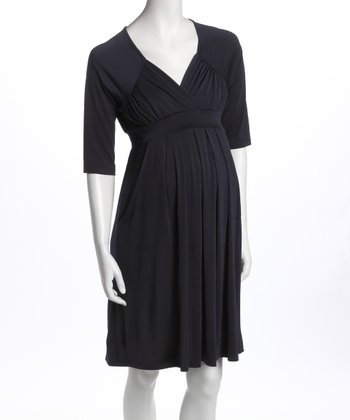 Navy Three-Quarter Sleeve Pocket Maternity Dress