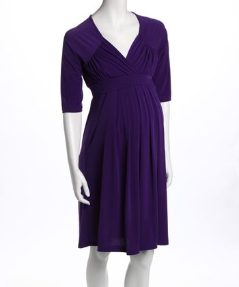 Purple Three-Quarter Sleeve Pocket Maternity Dress