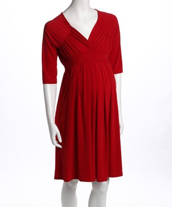 Red Three-Quarter Sleeve Pocket Maternity Dress