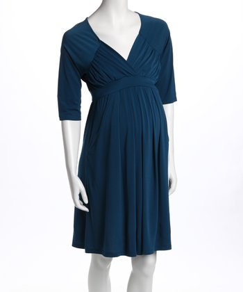 Teal Three-Quarter Sleeve Pocket Maternity Dress