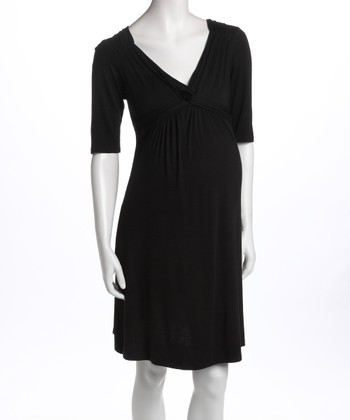 Black Knot-Front Three-Quarter Sleeve Maternity Dress