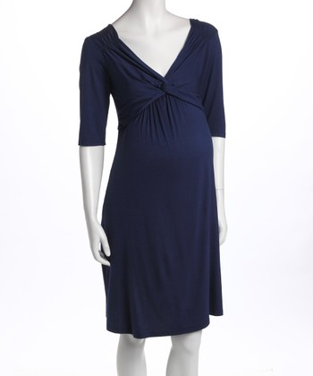 Navy Knot-Front Three-Quarter Sleeve Maternity Dress