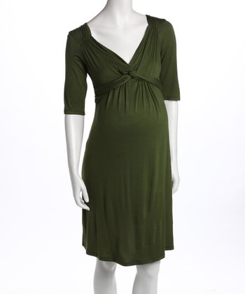 Olive Knot-Front Three-Quarter Sleeve Maternity Dress