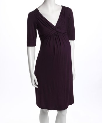 Purple Knot-Front Three-Quarter Sleeve Maternity Dress